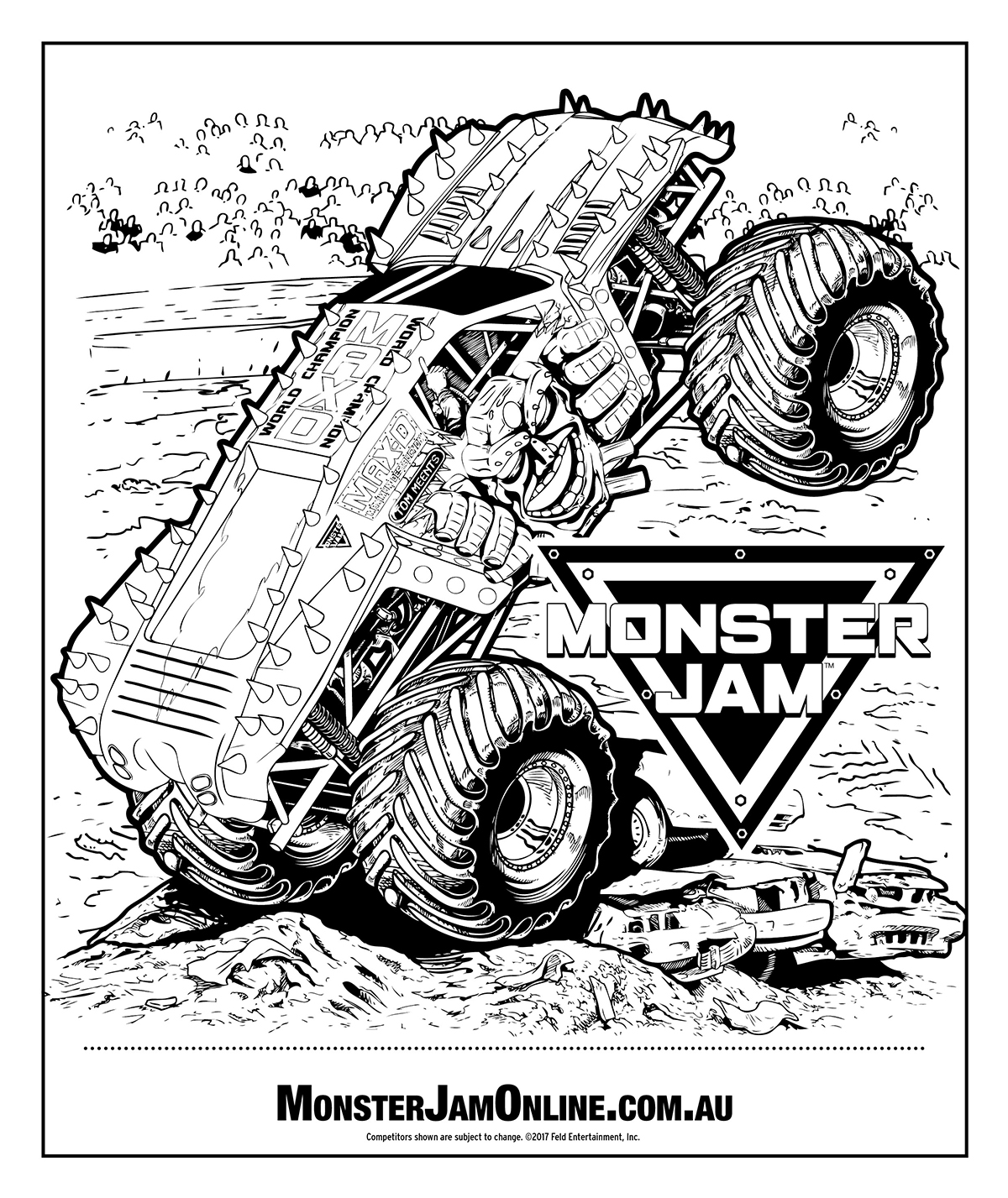 Monster Jam colouring page